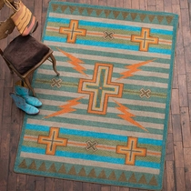 Tempest Turquoise & Gray Rug - 8 x 11