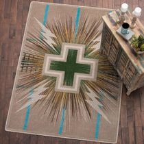 Temple Gray & Turquoise Rug - 5 x 8