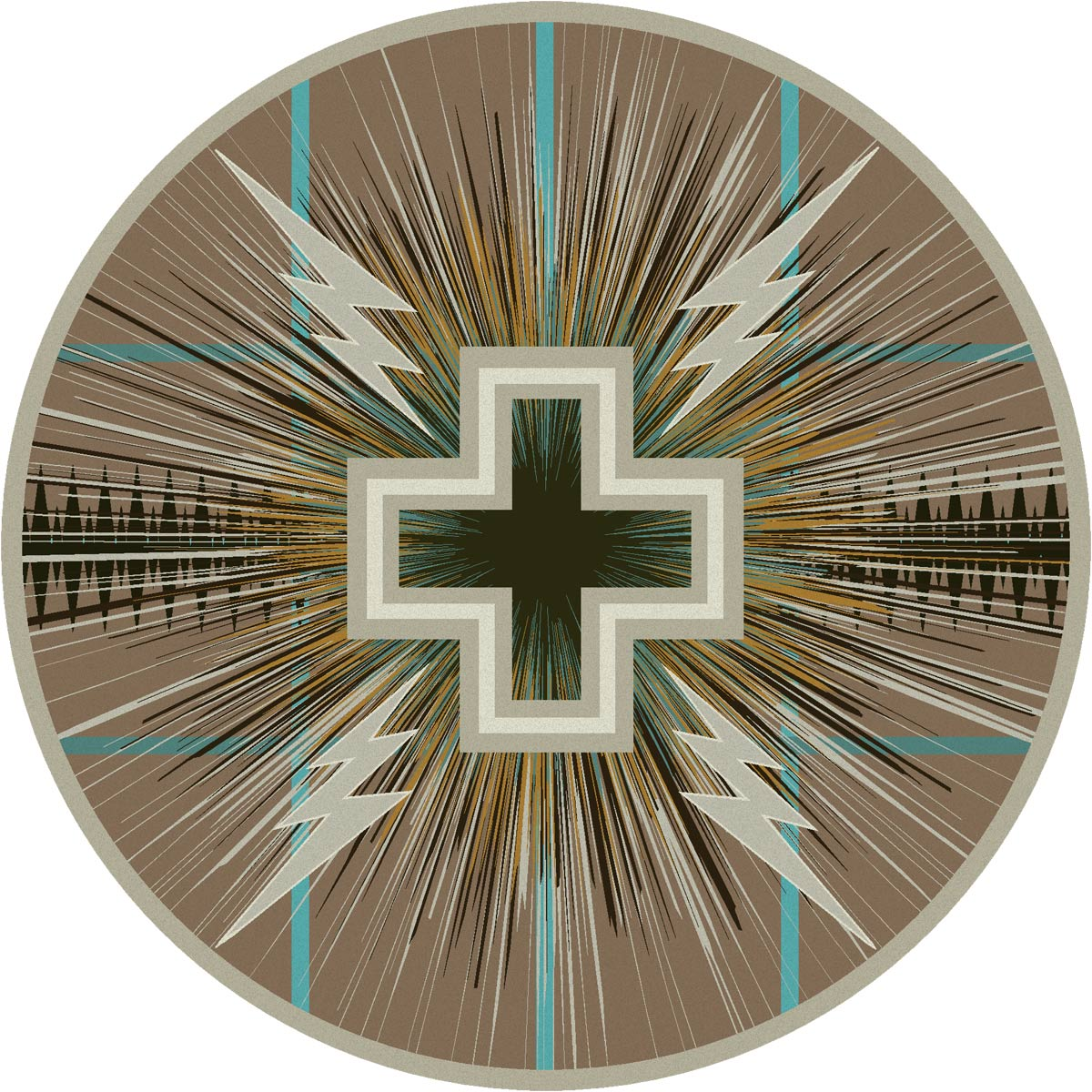 Temple Gray & Turquoise Rug - 8 Ft. Round