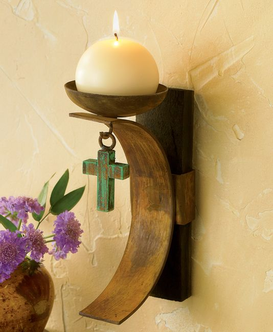 Tequila Barrel Candle Holder with Turquoise Cross