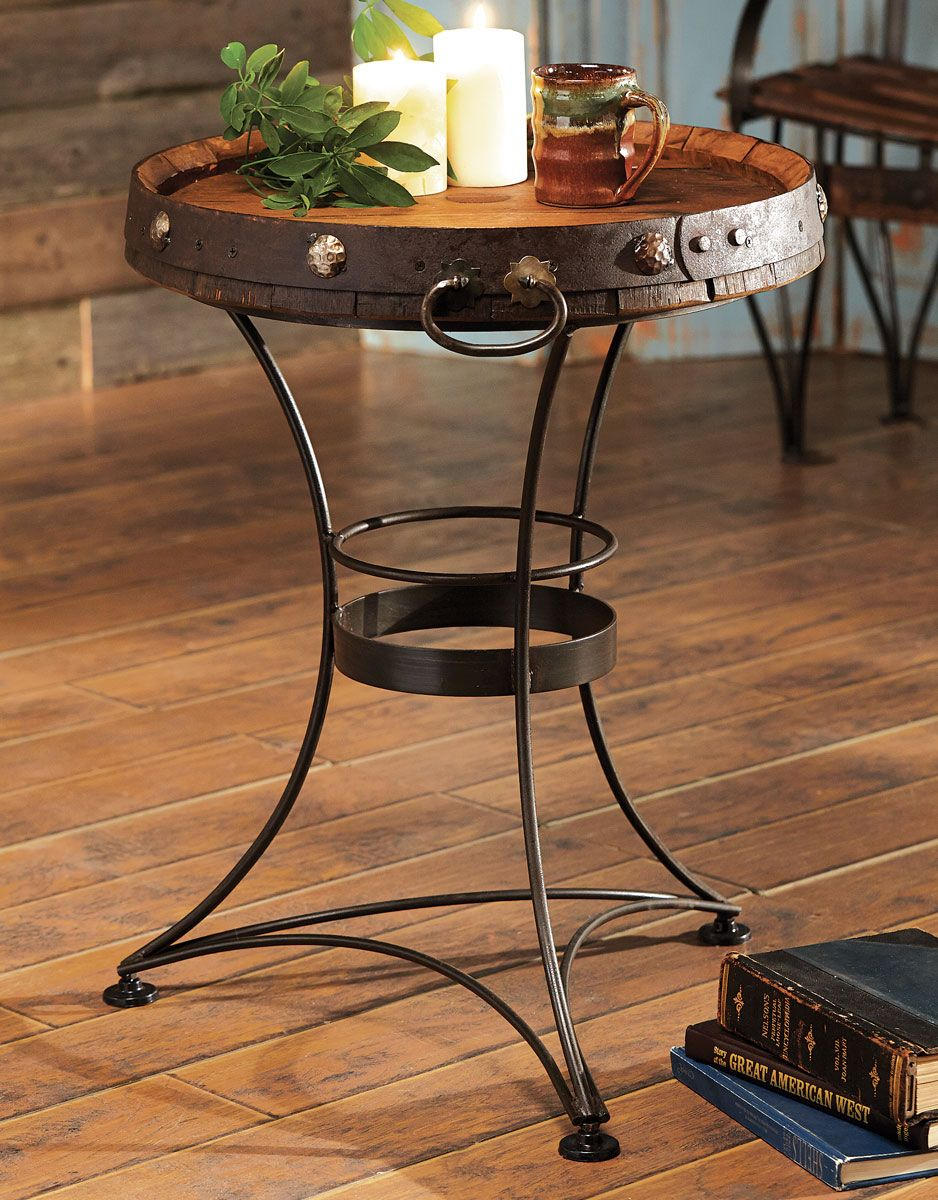 Tequila Barrel End Table