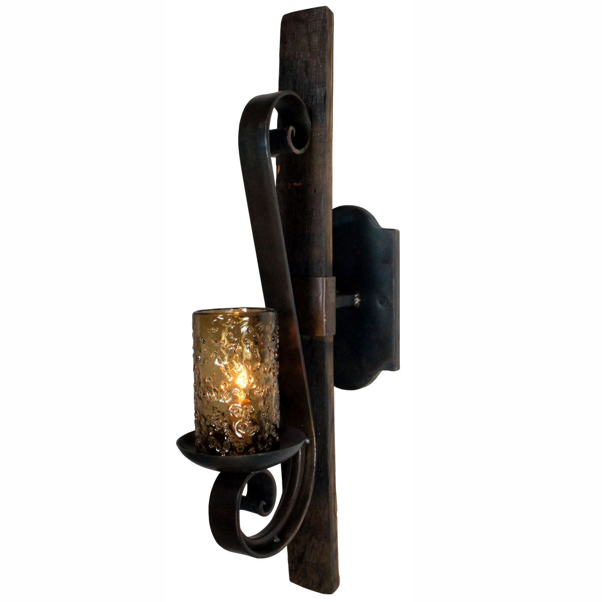 Tequila Barrel Rustic Scroll Wall Sconce with Smoked Glass
