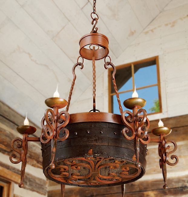 Tequila Barrel Scroll Chandelier