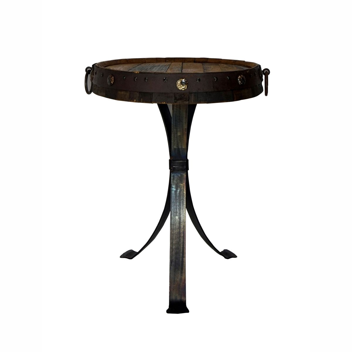 Tequila Barrel Top Table with Modern Natural Iron Base