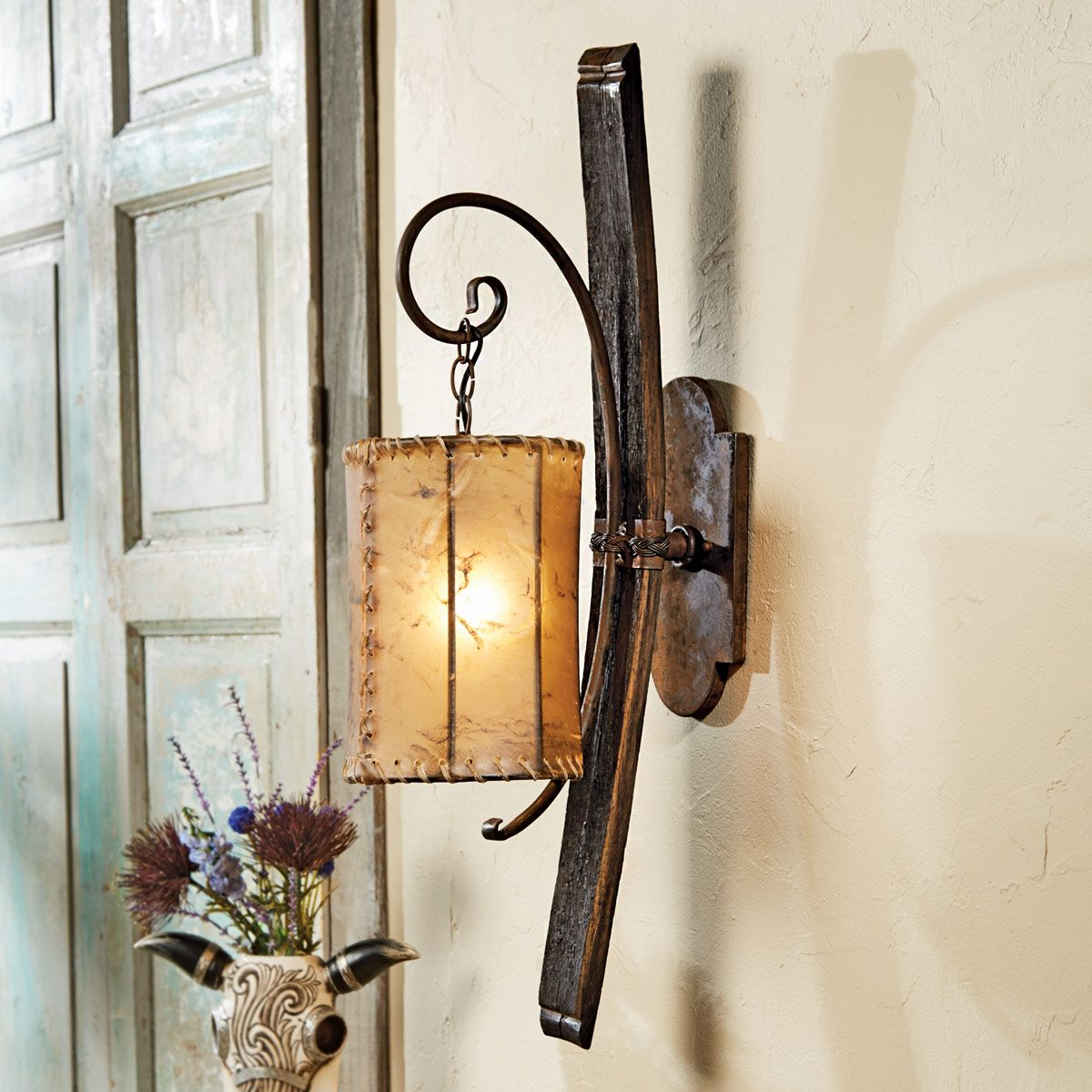 Tequila Barrel Wall Lamp with Rawhide Shade