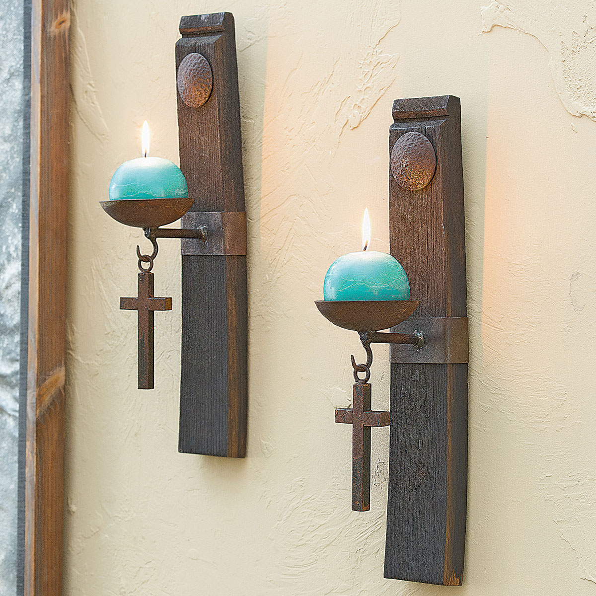 San Miguel Tequila Stave Candle Holders - Set of 2