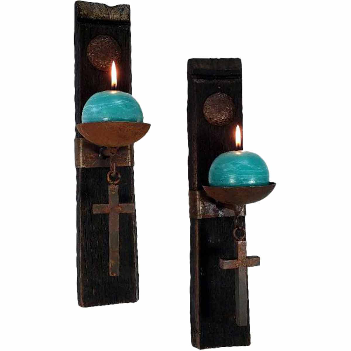 Tequila Stave Candle Holders with Crosses and Turquoise Candles - Set of 2