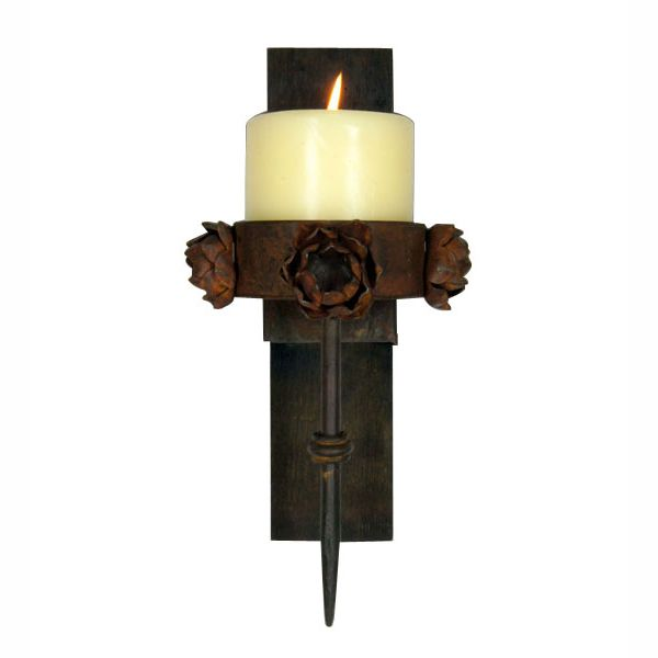 Tequila Stave Pointed Rose Wall Candle Holder with Candle