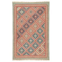 Terra Cotta & Blue Diamonds Rug - 5 x 8