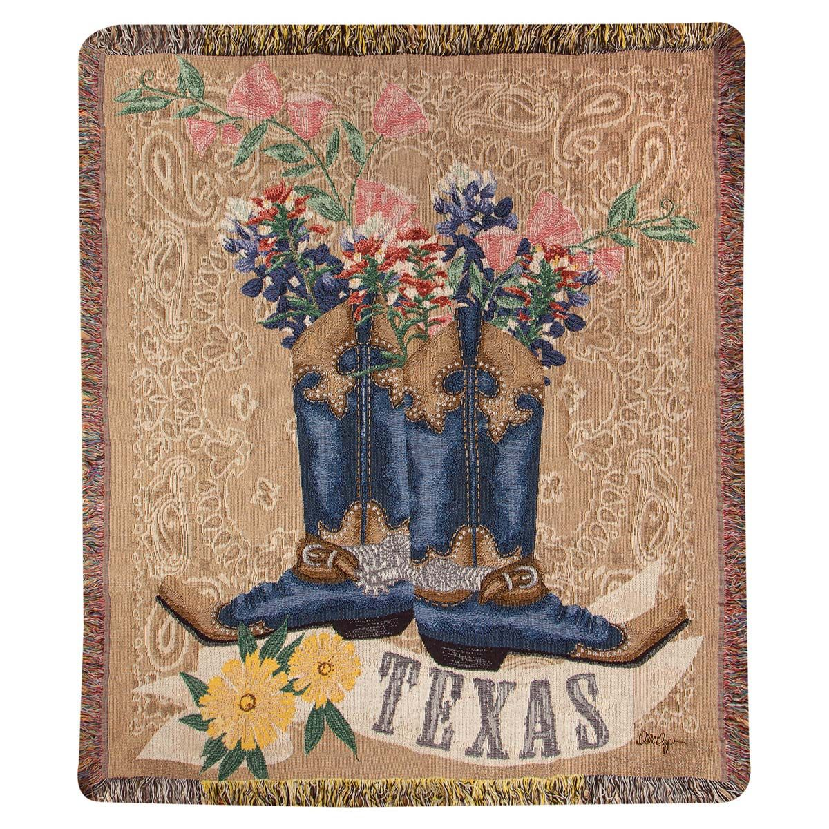 Texas Boots & Bluebonnets Tapestry Throw