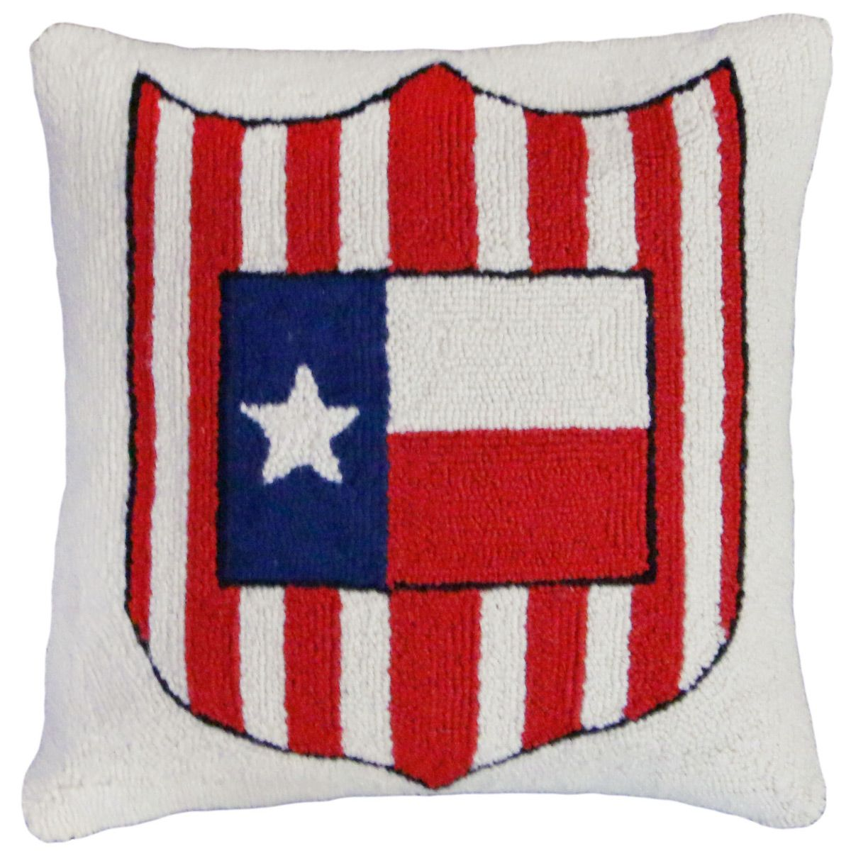 Texas Flag and Shield Hooked Wool Pillow