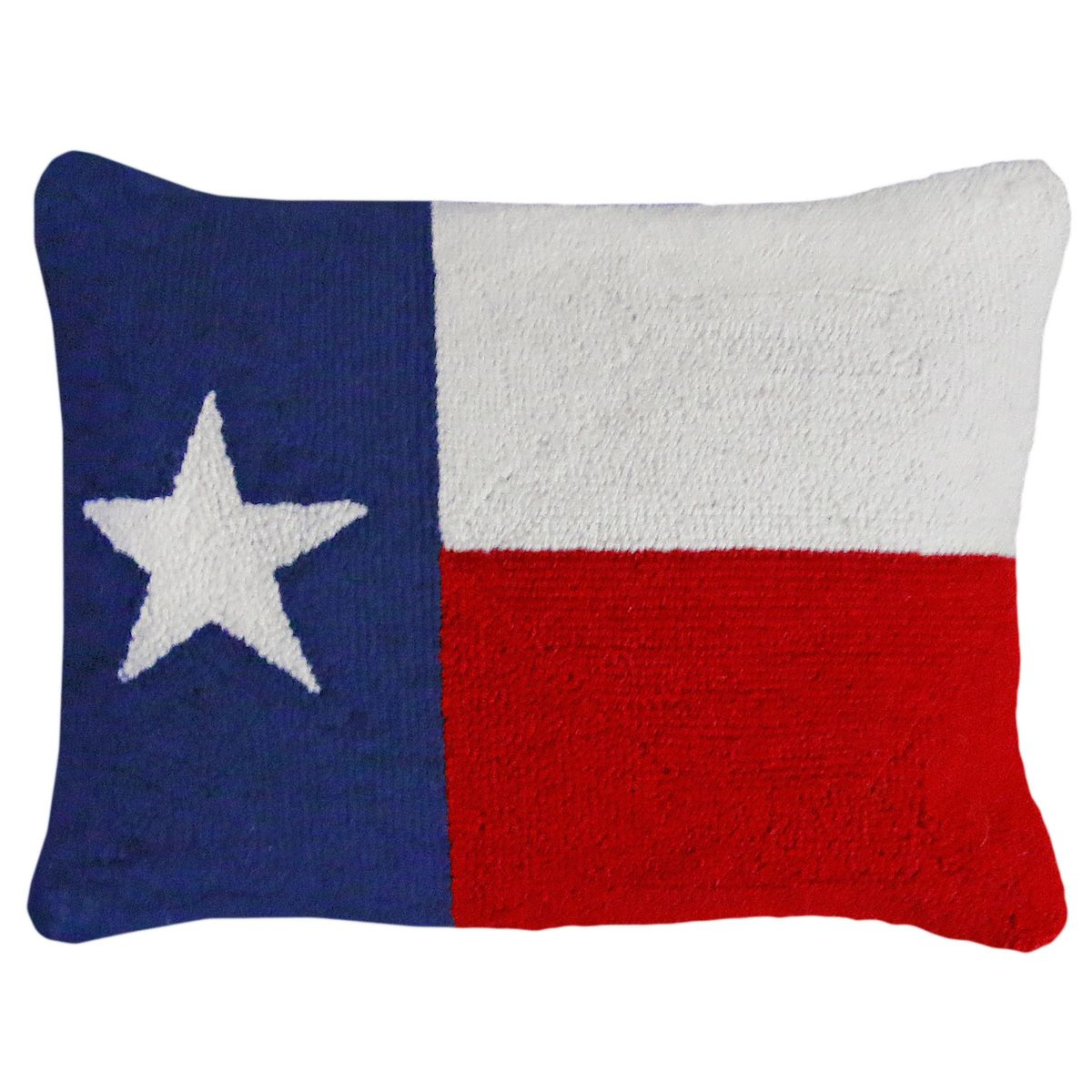 Texas Flag Hooked Wool Pillow