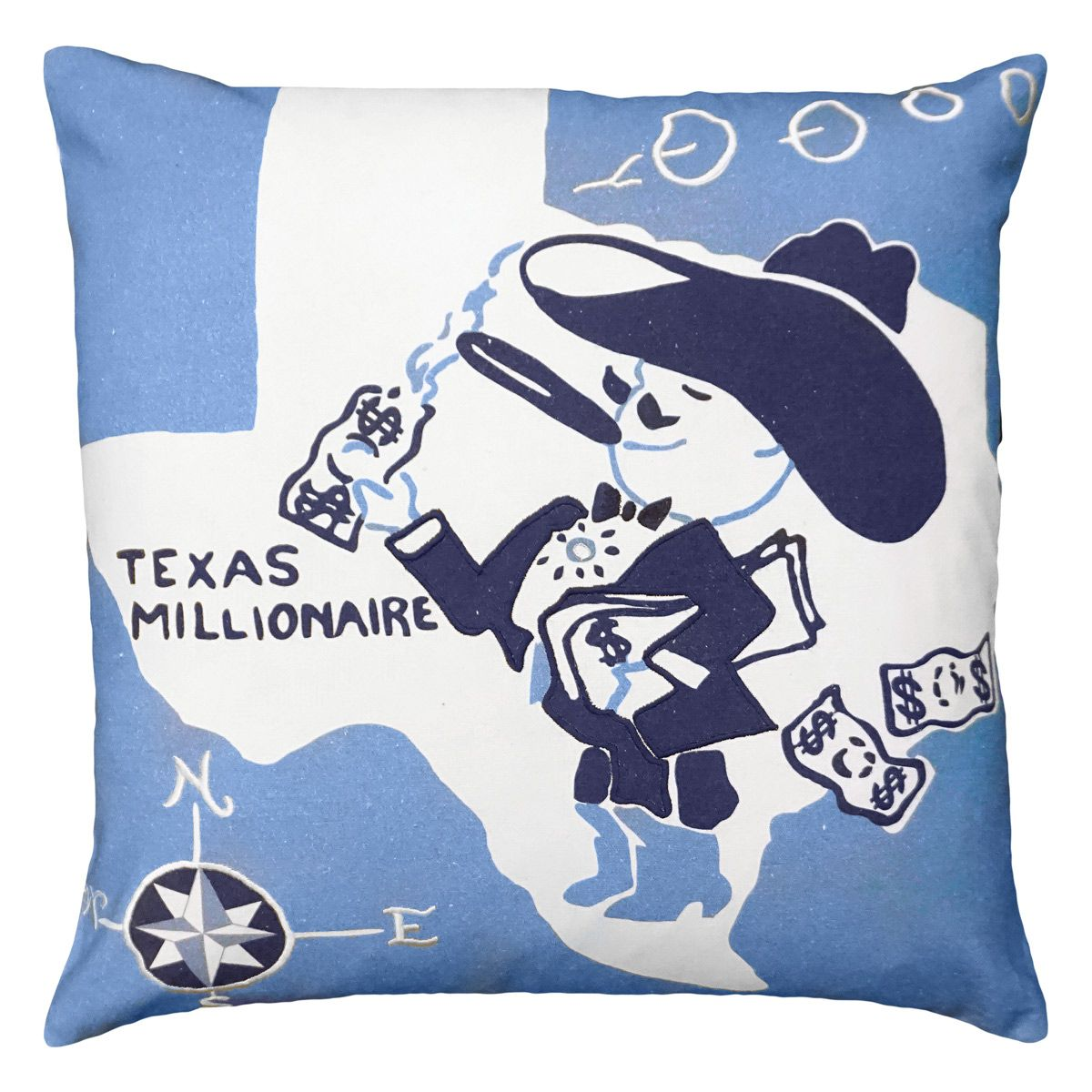 Texas Millionaire Embroidered Pillow