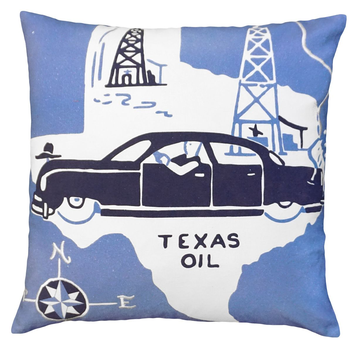 Texas Oil Embroidered Pillow