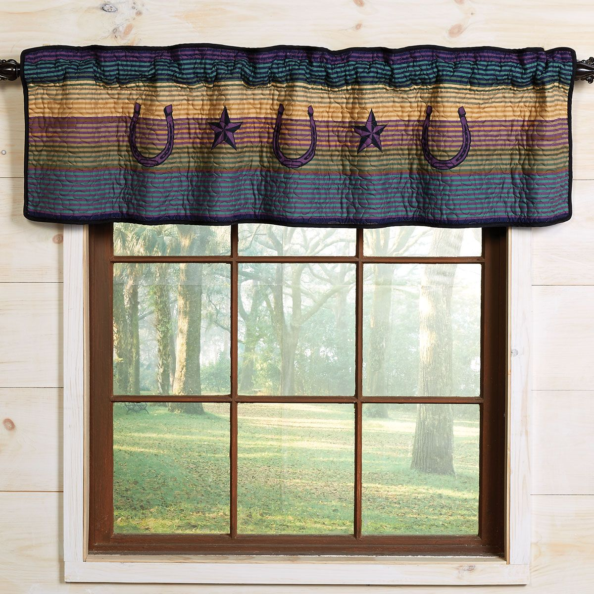 Texas Sky Star & Horseshoe Valance