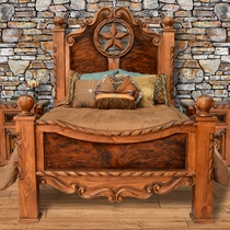 Texas Star Cowhide Bed - Queen