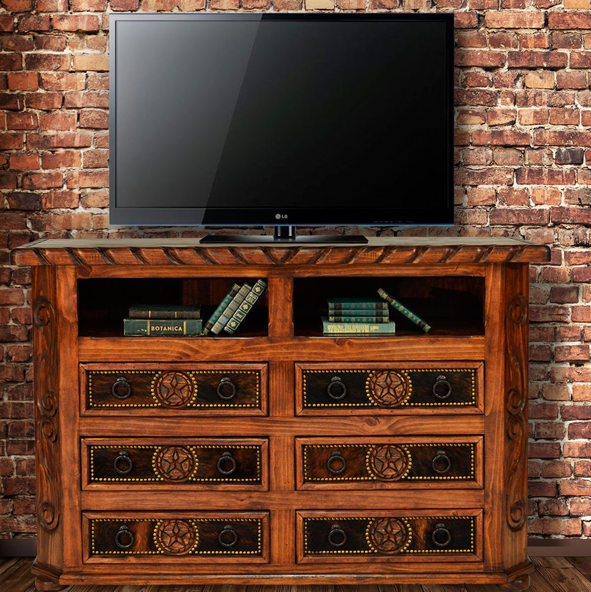 Texas Star Cowhide TV Stand