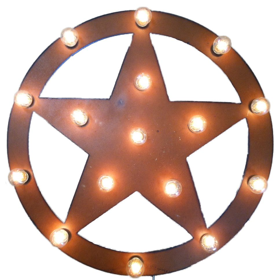 65c41a5b4a Rustic Metal Wall Art: Texas Star Lighted Marquee Sign