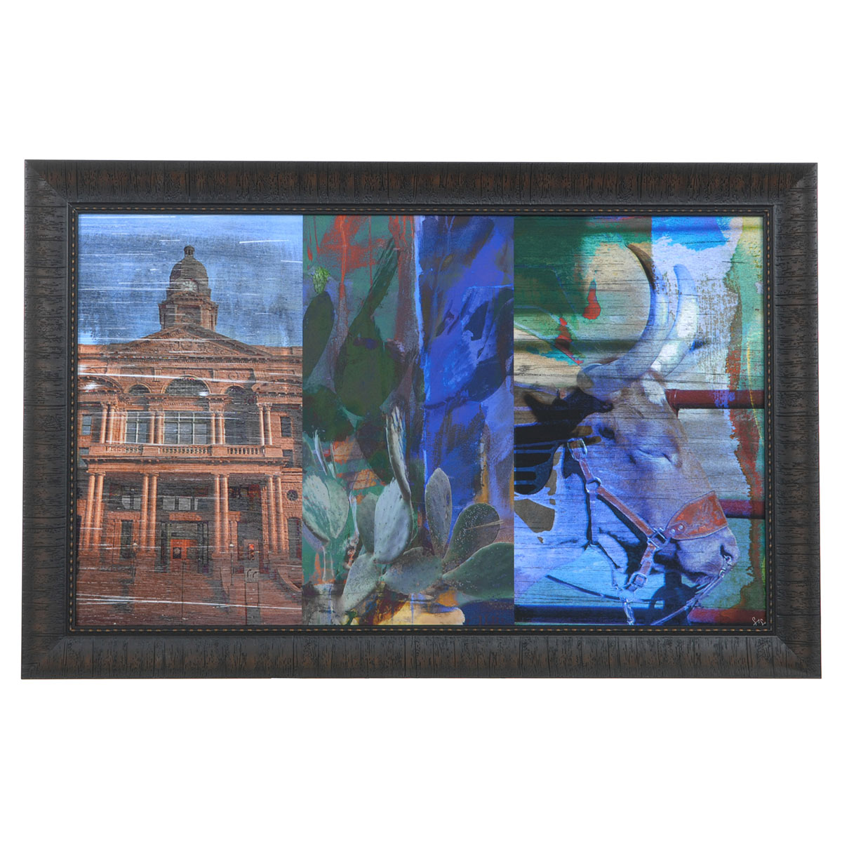 Texas Steer Collage Framed Print