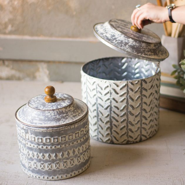 Textured Tin Canisters Set Of 2