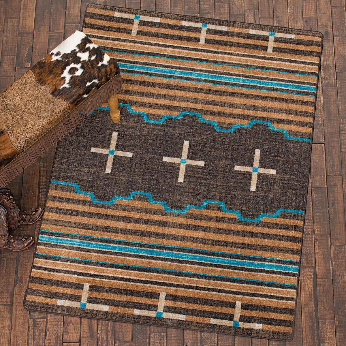 Three Chiefs Suede & Teal Rug - 3 x 4