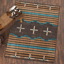 Three Chiefs Suede & Teal Rug - 4 x 5