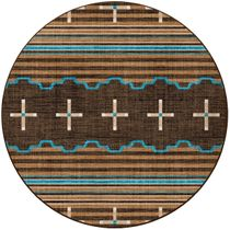 Three Chiefs Suede & Teal Rug - 8 Ft. Round