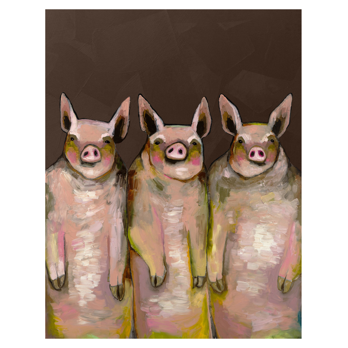 Three Pink Pigs Brown Wall Art
