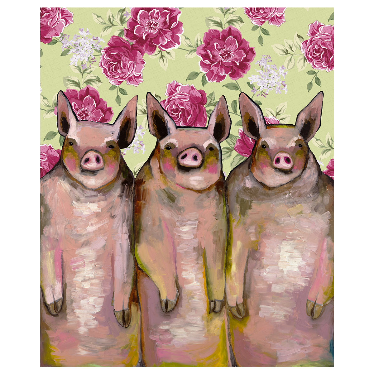 Three Pink Pigs Floral Wall Art