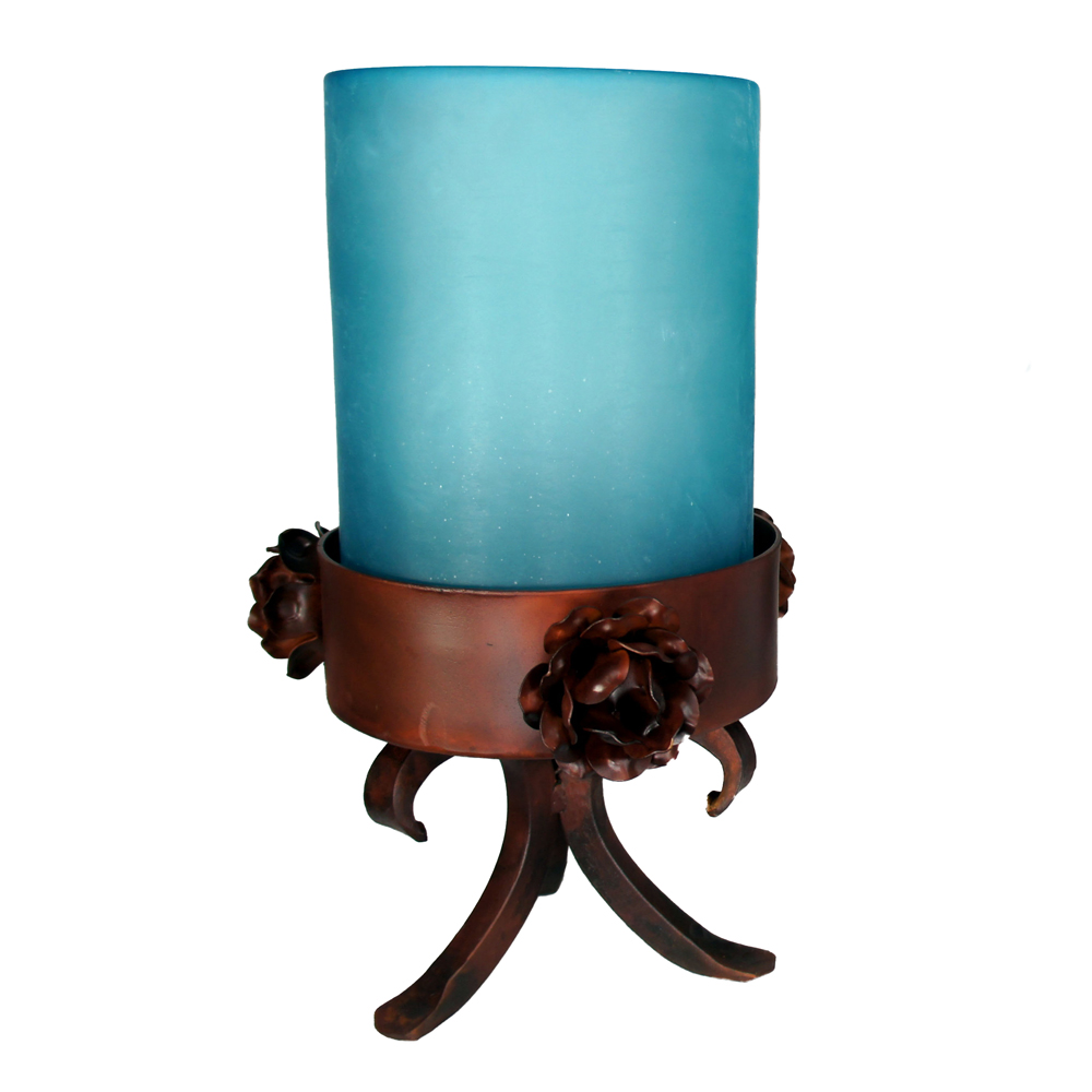 Three Roses Iron Tabletop Candle Holder - Small