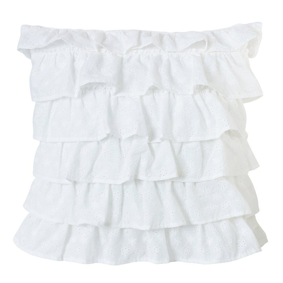 Tiered Ruffled Eyelet Pillow