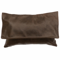 Timber Leather with Flap and Fabric Back Pillow