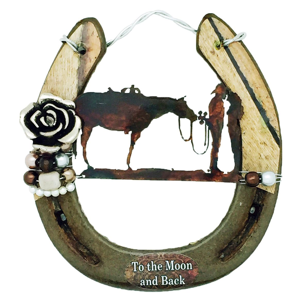 To The Moon and Back Horseshoe Wall Art
