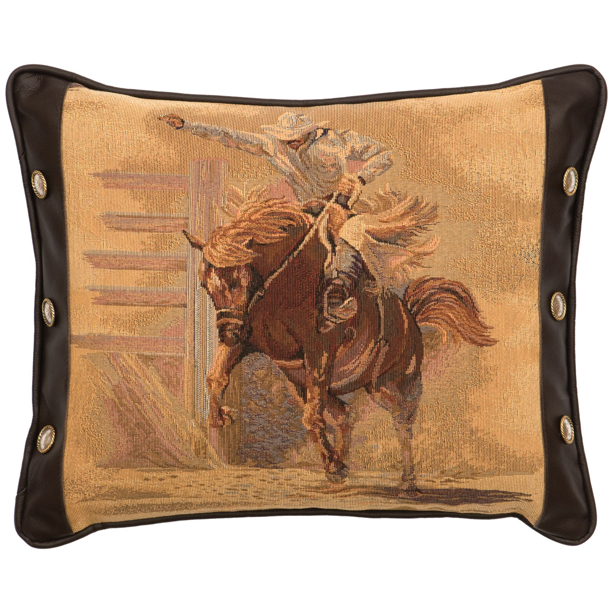 Tombstone III Bronco Rider Pillow with Fabric Back