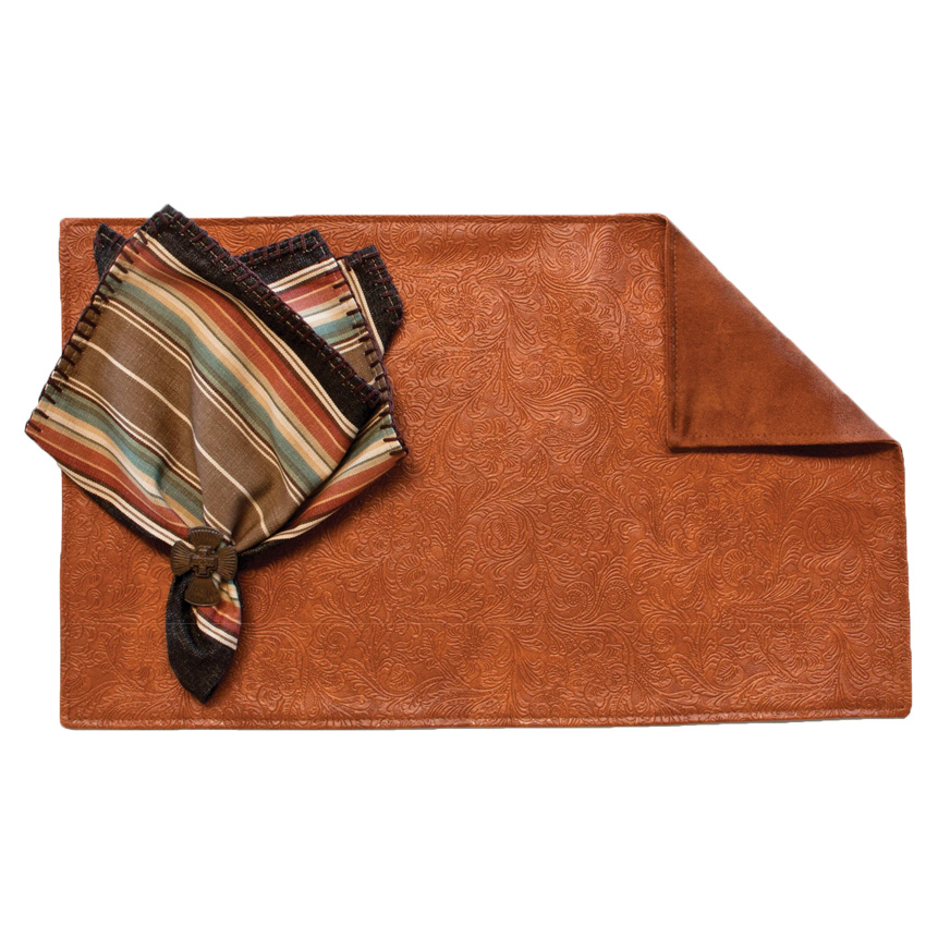 Tooled Bourbon Placemats with Suave Rust Back - Set of 4