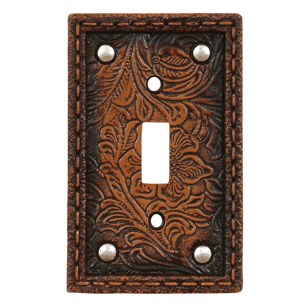 Tooled Flower Leather Single Switch Plate