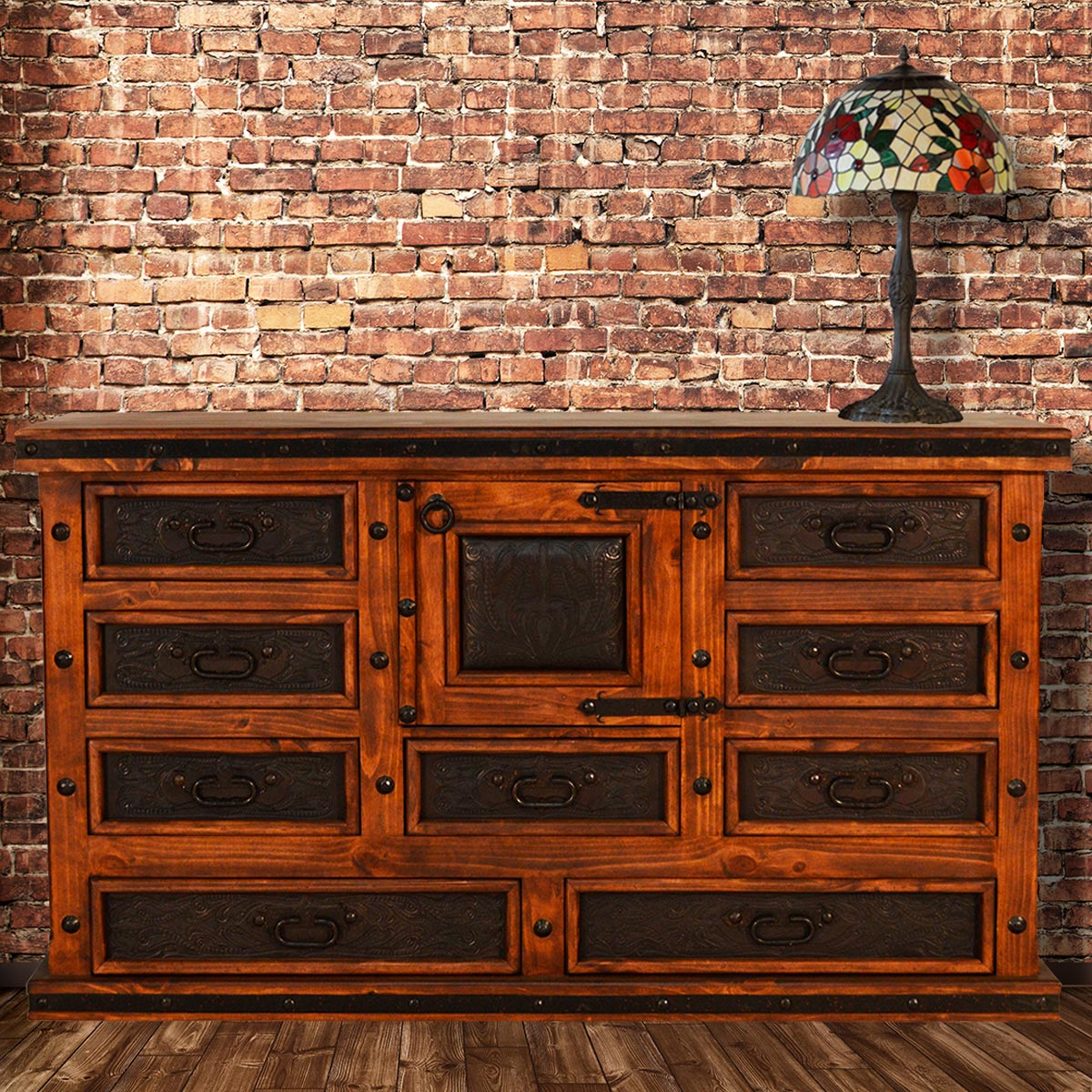 Tooled Leather 72 Inch Buffet