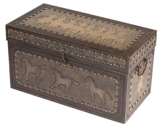 Tooled Leather Cowboy Trunk