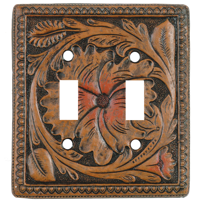 Tooled Leather Double Switch Plate Cover