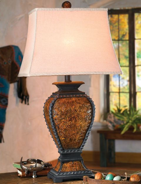 Tooled Leather Old West Lamp