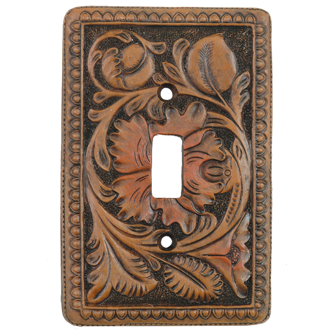 Tooled Leather Single Switch Plate Cover
