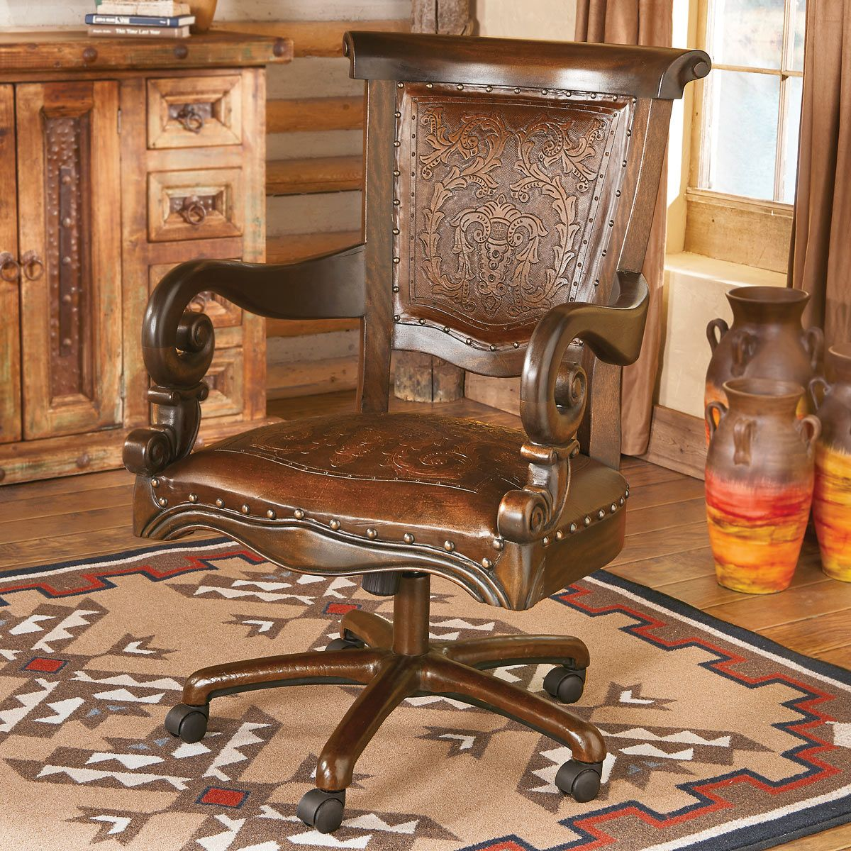 Terrific Tooled Leather Western Desk Chair Pabps2019 Chair Design Images Pabps2019Com