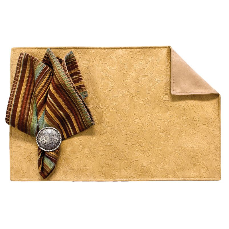 Tooled Sand Placemats with Suave Camel Back - Set of 4