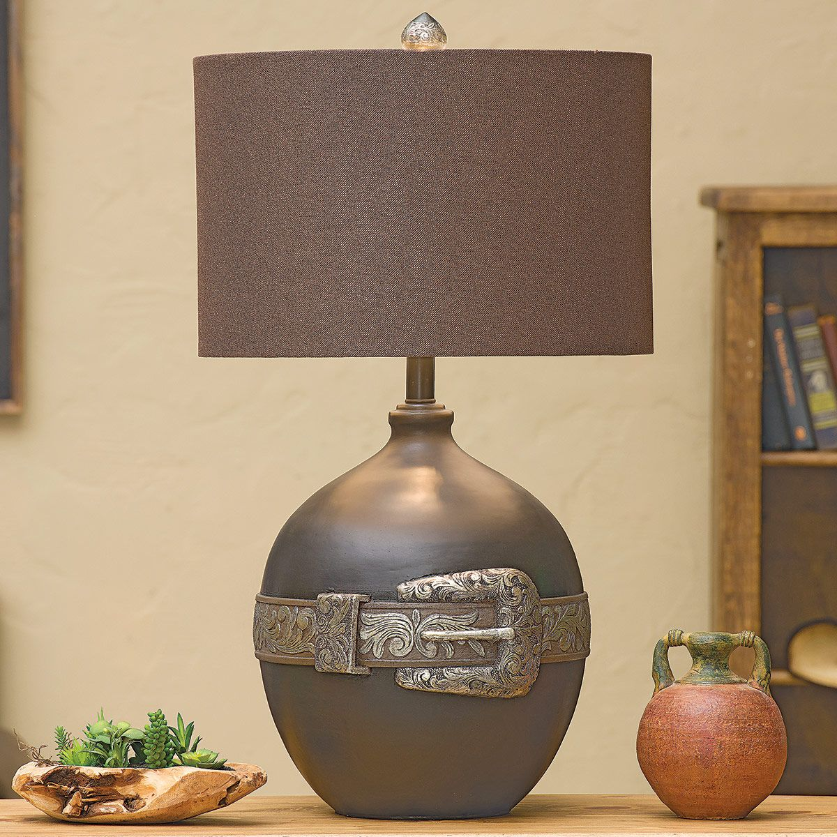 Tooled Silver Buckle Table Lamp