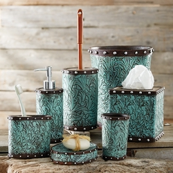 Tooled Turquoise Flowers Bath Accessories