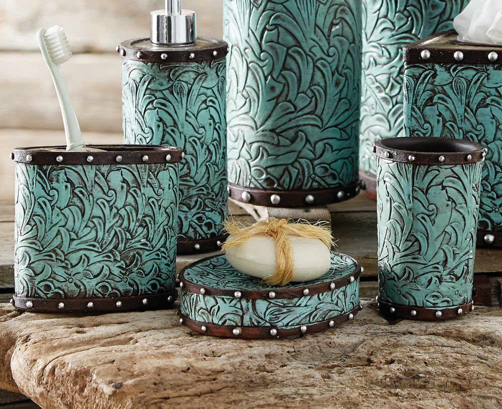 Tooled Turquoise Flowers Bath Set (3 pcs)