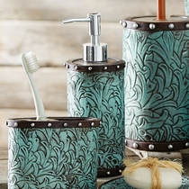 Tooled Turquoise Flowers Lotion Dispenser