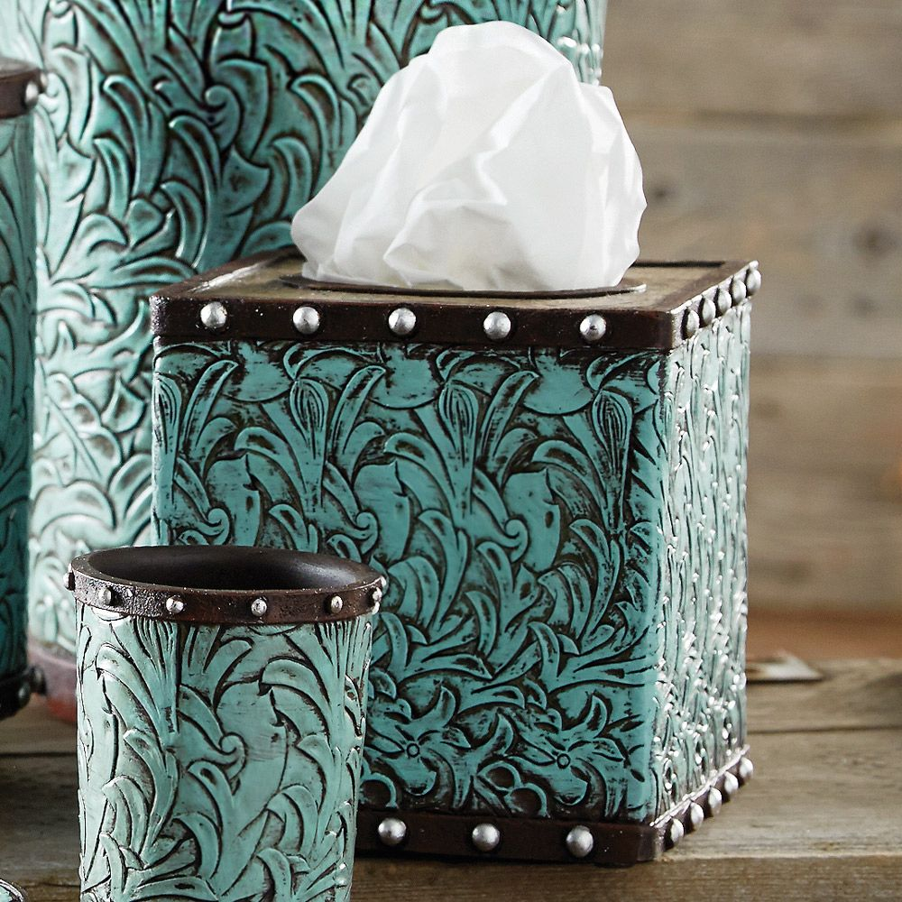 Tooled Turquoise Flowers Tissue Box