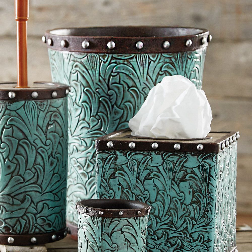 Tooled Turquoise Flowers Waste Basket