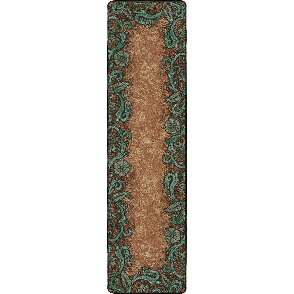 Tooled Turquoise Rug - 2 x 8